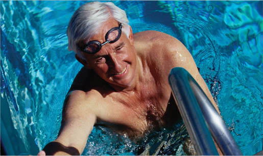 Senior male in pool